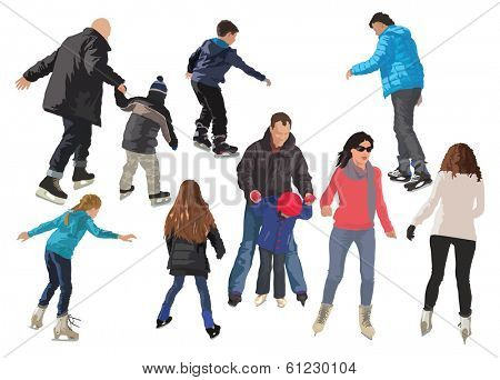 Ten people skating on ice. Color vector illustration.