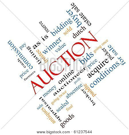 Auction Word Cloud Concept Angled