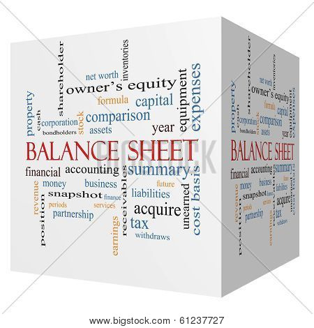 Balance Sheet 3D Cube Word Cloud Concept