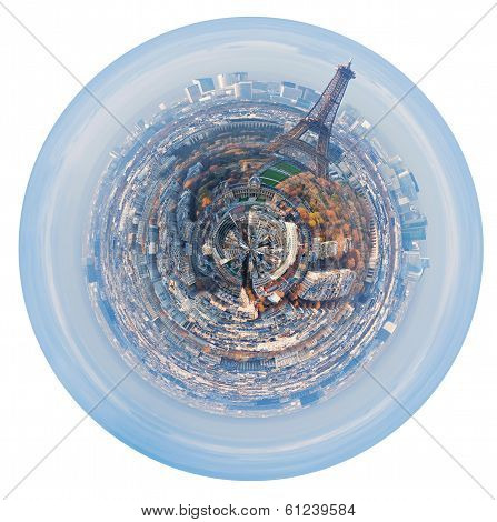 Spherical Panorama Of Paris With Eiffel Tower