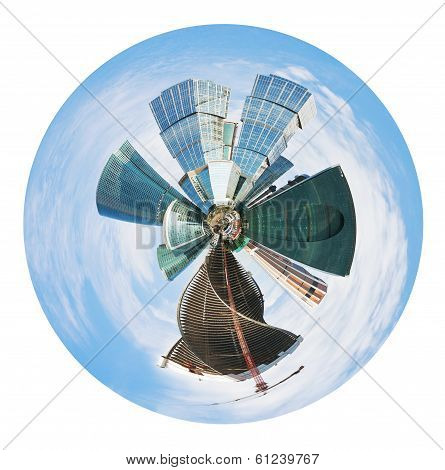 Spherical Panoramic Skyline Of Moscow City