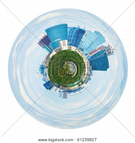 Spherical Panorama Of Moscow City Towers In Spring