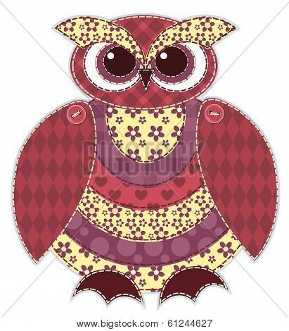 Red patchwork owl. Cartoon vector quilt illustration. Isolated on white. poster