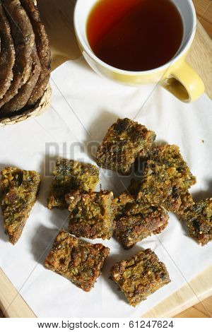 Kothimbir Vadi is a starter snack from maharashtra