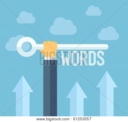 Seo Keywords Flat Illustration Concept