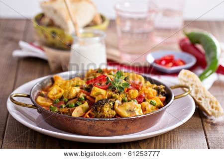 Vegan curry with tofu and vegetables