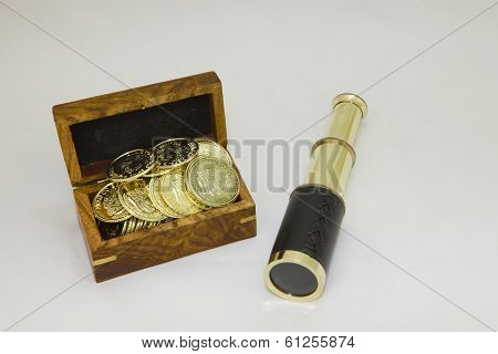 Antique Brass Telescope With Gold Coins