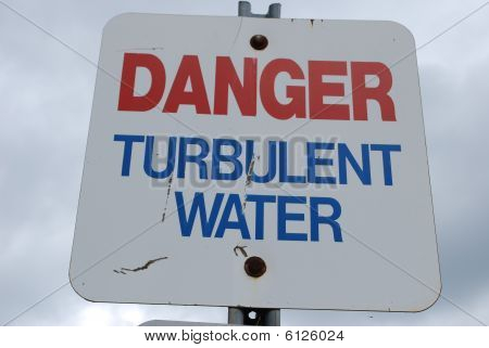 colourful, bold metal Caution turbulent water sign poster