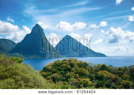 Panorama of Pitons at Saint Lucia, Caribbean