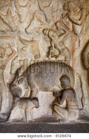 Scene From Mahabalipuram Caves