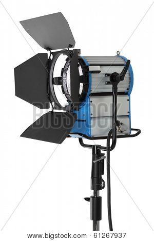 HMI fresnel movie light isolated on white background