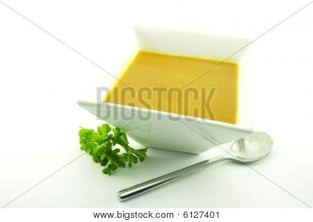 Tomato Soup In A Black Bowl