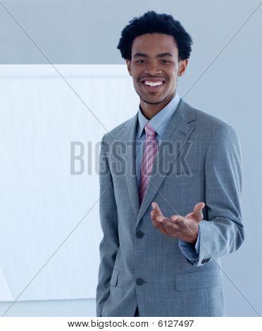 Afro-american Businessman Introducing Stock Market