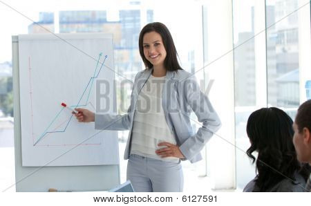 Businesswoman Reporting To Sales Figures