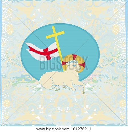 Lamb With Cross - Abstract Grunge Card
