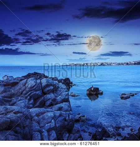 Liitle Town On A Sea Coast At Night