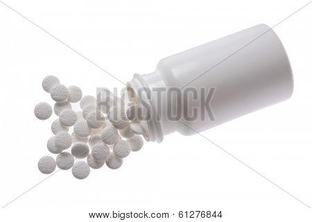 white pill bottle of aspirin on white background