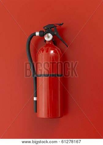 Red fire extinguisher on red background