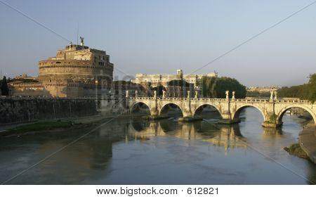 St. Angel Castle And Bridge, Rome