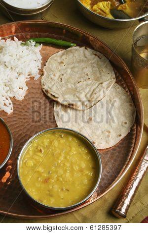 Gujarati Tuvar Dal with rice and roti