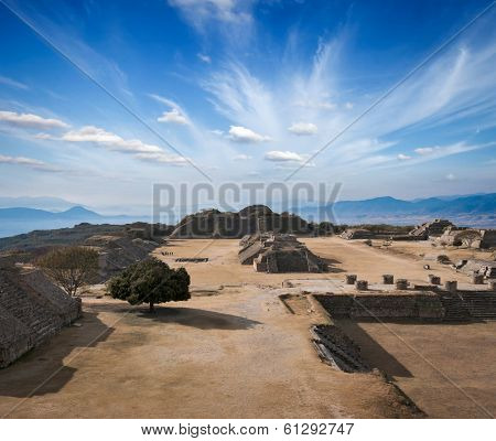 Ancient ruins on plateau Monte Alban in Mexico