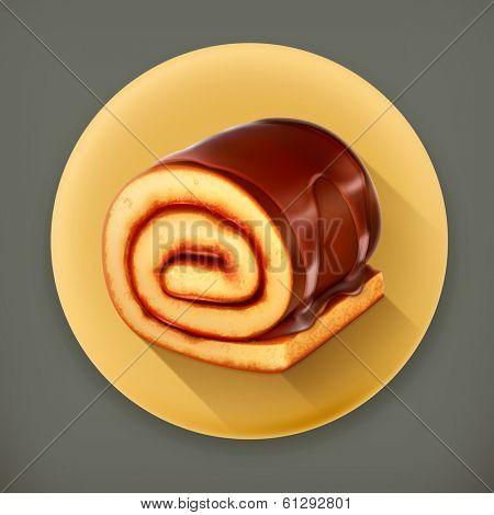 Chocolate roll cake, long shadow vector icon