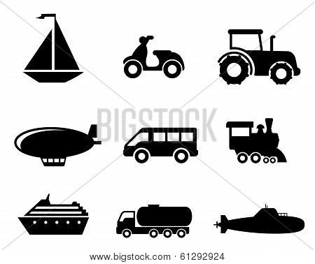 Collection of transport icons depicting a boat, scooter, tractor, blimp, van, train, liner, truck and airplane in black silhouette poster