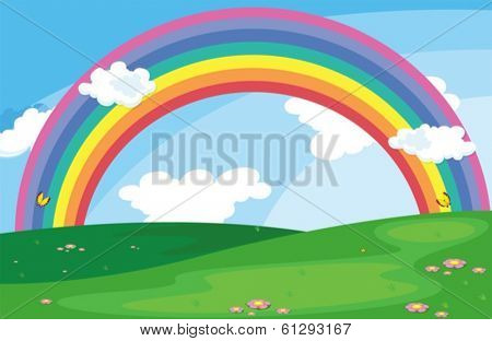 Illustration of a green landscape with a rainbow in the sky