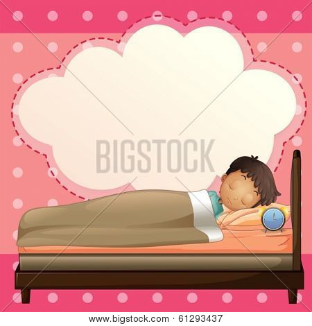 Illustration of a boy sleeping with an empty callout template