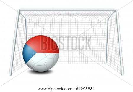 Illustration of a soccer ball with the CzechRepublic flag on a white background