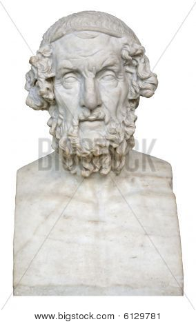 White Marble Bust Of The Greek Poet Homer