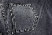Closeup of black jeans pocket for background or texture poster