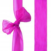 Magenta decorative ribbon with a bow on white background poster