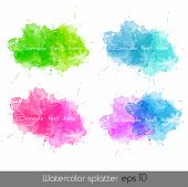 Set of Watercolor splatters. Vector illustration. EPS 10 poster