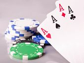 poker cards and chips with four aces poster