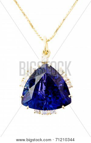 Ladies Pendant with Tanzanite and Diamonds, Isolated on White Background