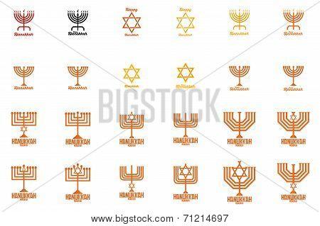 a set of candelabrums and stars for hanukkah celebrations
