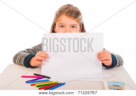 Little Girl Holding A Blank Piece Of Paper