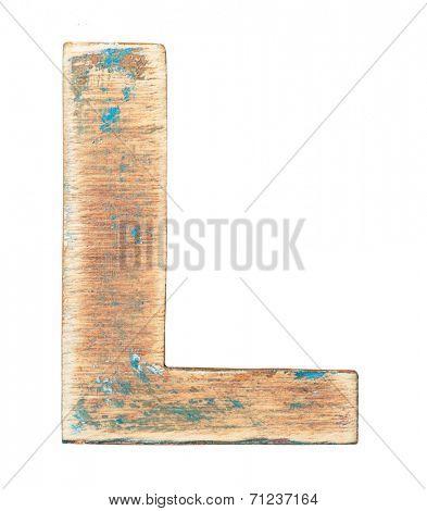 Painted on wood alphabet, letter L