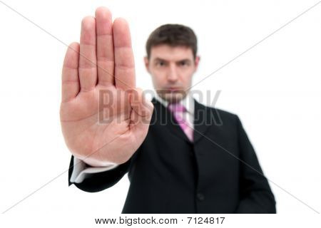 Businessman Indicating Stop With His Hand