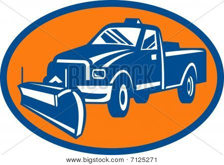 Snow plow pick-up truck