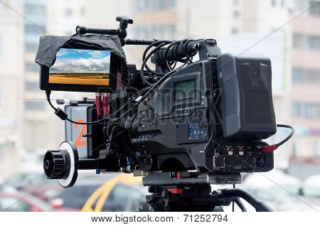 Professional Video Camera On A City Street
