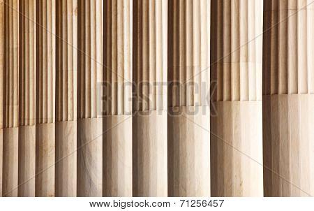 Marble Columns In Atalo Stoa. Athens. Greece