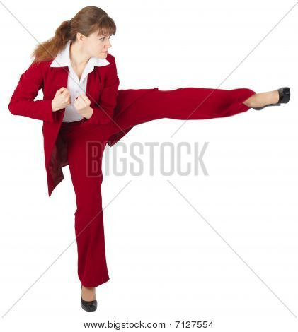 Young Girl Kicks, On White Background