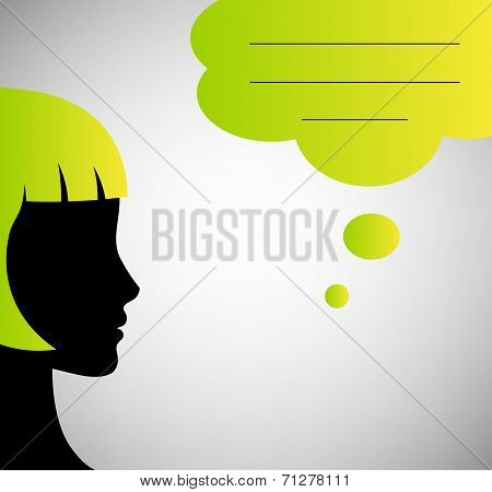 Abstract speaker silhouette with speech bubble isolated on gray background poster