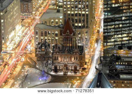 Boston Trinity Church at night, USA