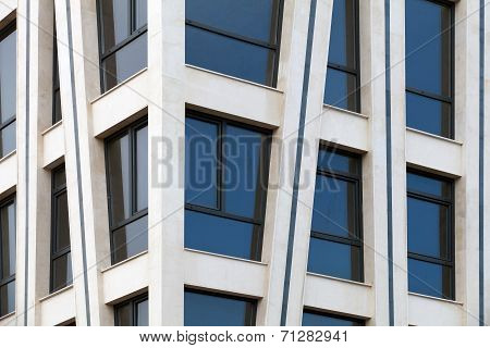 Modern architecture abstract fragment with white walls and windows poster