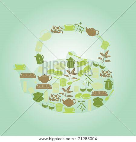 Green Tea Icons In Teapot Shape Eps10