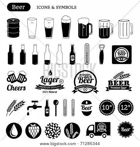 vector beer icons set - black & white