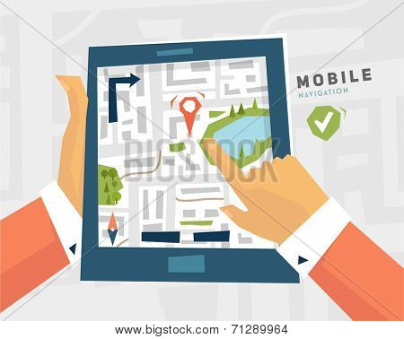 Mobile Navigation. GPS Technology. Tablet PC with Map.